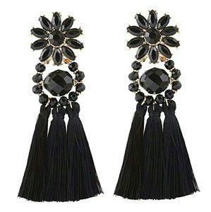 Tassel Drop Earrings Midnight Flower